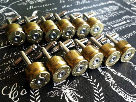 Groomsmen Gift cuff links Bullet wedding set by DieselLaceDesign