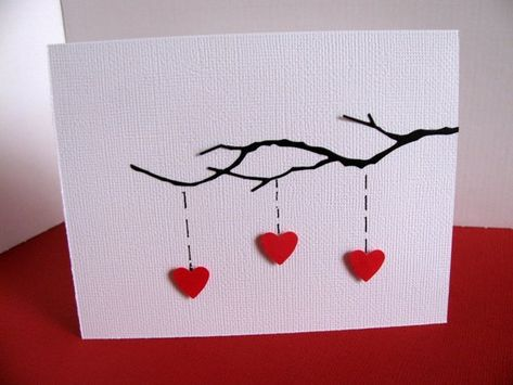 3D Heart Strings on Delicate Black Branch on Textured White Linen Card / You CHOOSE Colour of Hearts