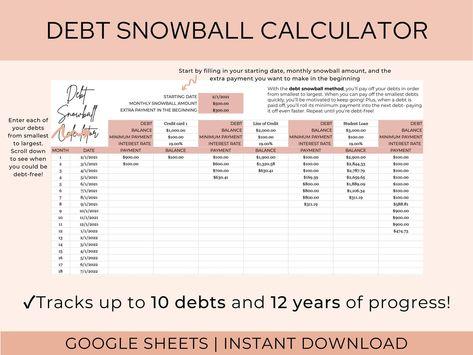 Debt Snowball Spreadsheet | Debt Payoff Calculator | Google Sheets Template