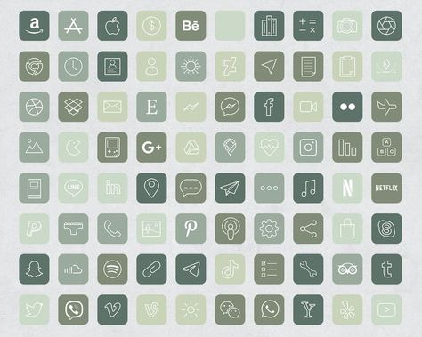640 Forest Green Aesthetic iOS 14 App Icons / Social Media icons iOS14 / iPhone Icon App Pack / Mini