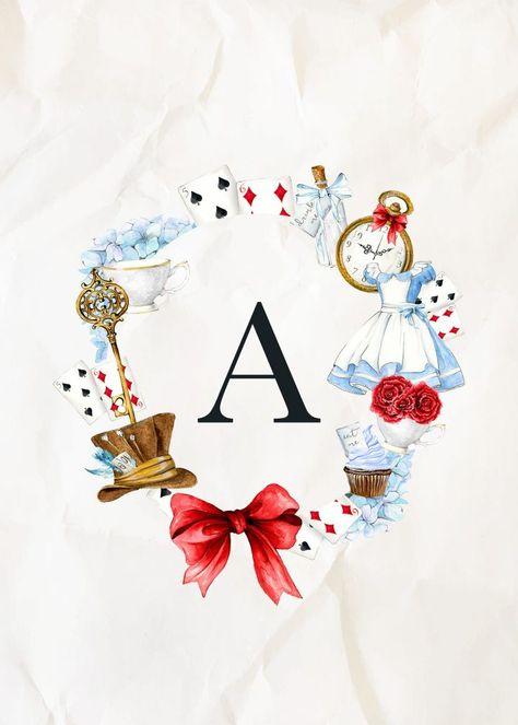 Free Printable Alice in Wonderland Monograms - The Cottage Market