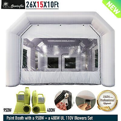 Ebay Advertisement Inflatable Spray Paint Booth With 2 Blowers Mobile Portable Car Spray Job Tent Spray Paint Booth Paint Booth Car Tent