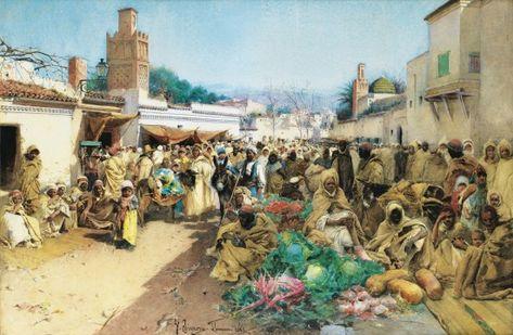 Marche Souk Traditionnel De Tlemcen En 1883 Les Arts Peintres
