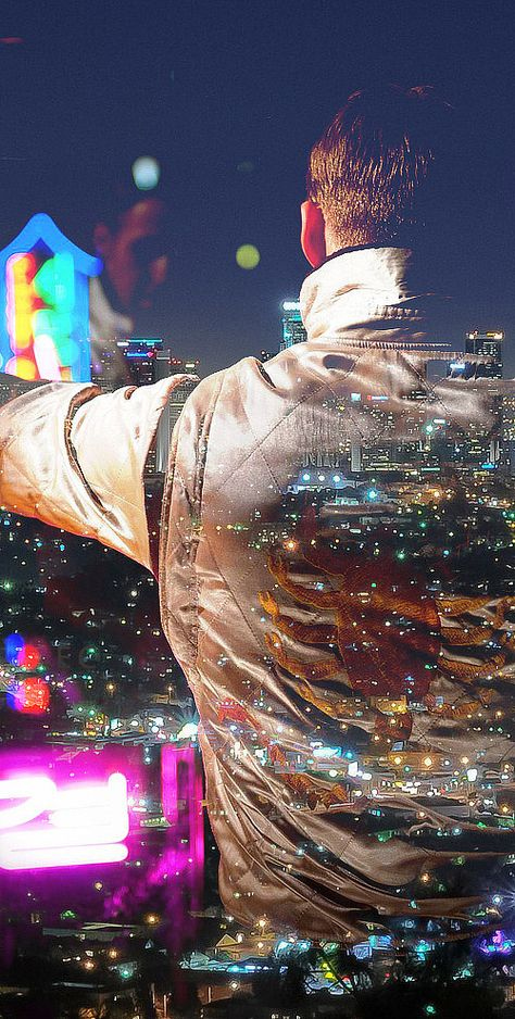 Love the way this has been created, all the beautiful colours of the lights in LA. Ryan Gosling in Drive