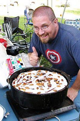 Devin's Dutch Oven Cinnamon Roll2 Loaves Bread Dough (frozen) Melted Butter 1/4 c. Brown Sugar (packed) 1/4 c. Sugar 1/3 Tbsp. Cinnamon 1/3 c. Chopped Pecans Pecan Halves Glaze: 2 1/2 c. Powdered Sugar 1 tsp. Vanilla 2 1/2 Tbsp. Milk