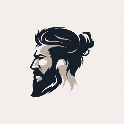 Barber shop vintage design logo template - Buy this stock vector and explore similar vectors at Adobe Stock Mens Hairstyles With Beard, Hair And Beard Styles, Beards And Hair, Hipster Hairstyles Men, Barber Shop Vintage, Beard Logo, Beard Tattoo, Beard Art, Photo Logo