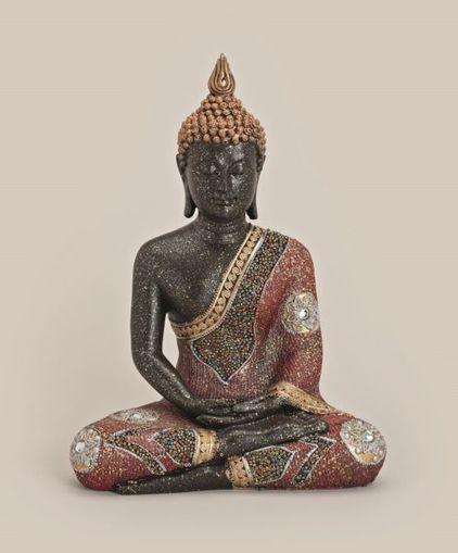 XL Thai Buddha Budda Figur Statue Feng Shui sitzend schwarz rot gold ca 30 cm @
