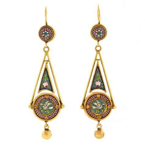 Antique Micromosaic in Gold Chandelier Earrings – Inspiration Fancy and Vintage Jewlery Antique Earrings, Antique Jewelry, Vintage Jewelry, Antique Gold, Victorian Gold, Gold Chandelier Earrings, Gold Earrings, Antique Chandelier, Star Earrings
