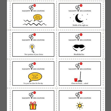 Printable Naughty,Sex Coupons, Instant Download, 24 Naughty Cards,Erotic Coupons,Sexy Valentines Gift,Valentine Printable,Paper Aanniversary A GREAT GIFT! This set of 24 cards will be an unforgettable gift!. Print these cards as much as you want. *** THIS LISTING IS A DIGITAL FILE