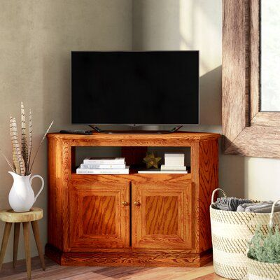 Loon Peak Lapierre Solid Wood Corner Tv Stand For Tvs Up To 50 Inches Color Bright White Oak In 2020 Wood Corner Tv Stand Corner Tv Stand Solid Wood