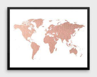 Rose Gold World Map Poster Grosse Weltkarte Drucken Faux Folie