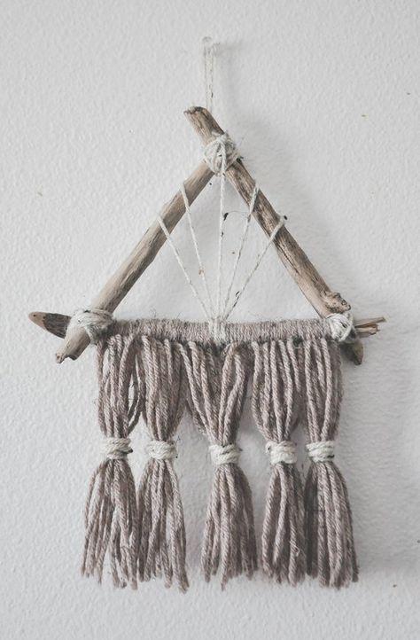 Yarn Tassel Boho Driftwood Wall Hanging- Handmade