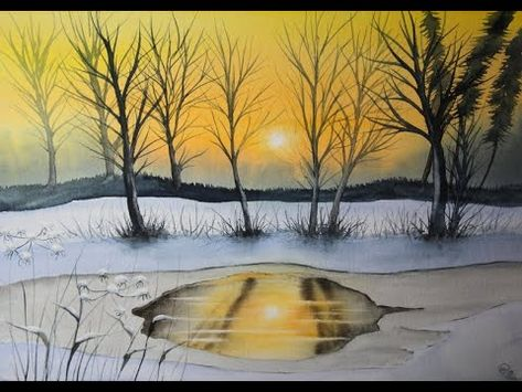 Ganz Einfach Aquarellmalen Lernen Winterfluss Mit Eis Ohne Skizze