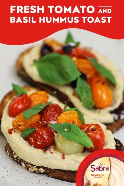 Move over, avocados. There's a new toast in town! Pair juicy tomatoes, fresh basil, and hummus toast for a light and easy summer snack. Beef Recipes, Vegetarian Recipes, Low Carb Recipes, Cooking Recipes, Healthy Recipes, Tostadas, Basil Hummus, Move Over, Fresco