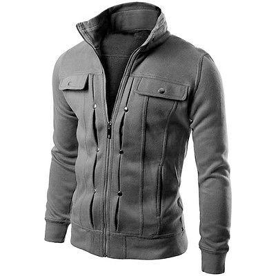 Men's New Military Jacket Tops Slim Blazer Collar Fit Winter Outwear Stand Coat