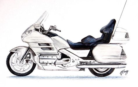 Honda Goldwing Motorcycle Drawing by Terence John Cleary