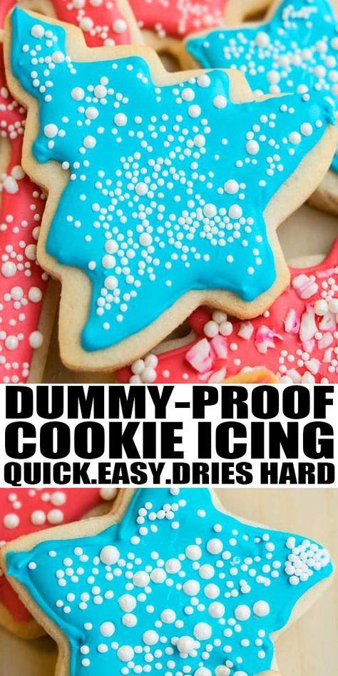 Easy Sugar Cookies, Christmas Sugar Cookies, Sugar Cookies Recipe, Holiday Cookies, Hard Sugar Cookie Icing, Simple Sugar Cookie Recipe, Best Sugar Cookie Recipe For Decorating, Hardening Sugar Cookie Icing, Sugar Cookie House Recipe