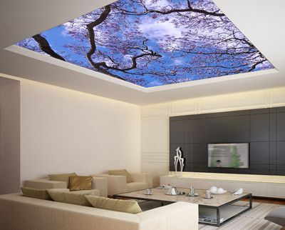 """Ceiling STICKER MURAL - Cherry Blossom flowering trees sky galaxy night decole poster 139""""x139"""""""