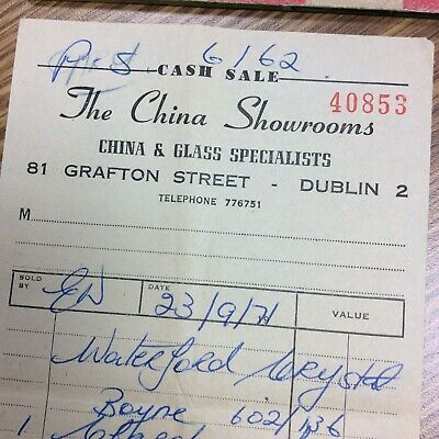 China Showrooms Grafton St Dublin Ireland Vtg 1971 Order Invoice Sale Receipt Ebay Grafton Dublin Ireland Dublin