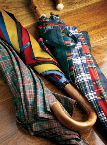 Vintage Umbrellas- Tartan Plaid and Stripes