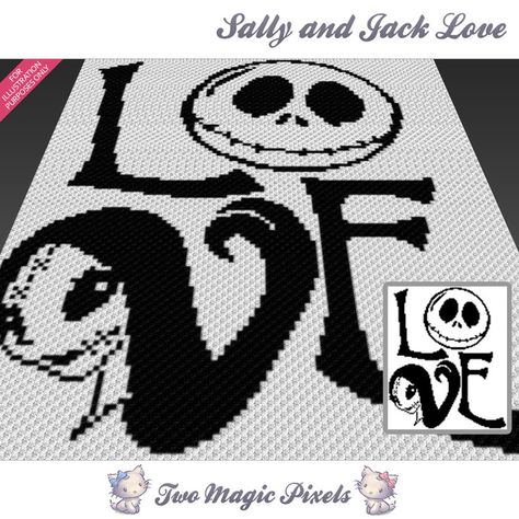 Sally and Jack Love crochet graph (C2C, Mini C2C, SC, HDC, DC, TSS), cross stitch; PDF download, no counts/instructions