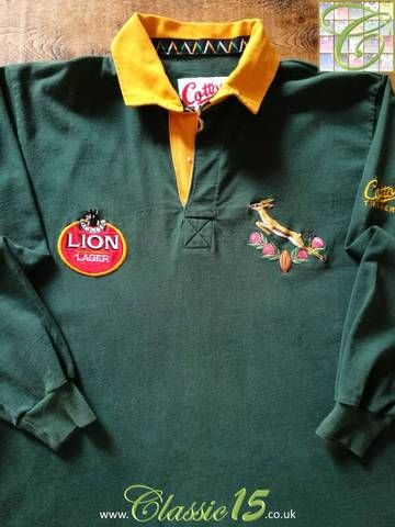 Official Cotton Traders South Africa Home Long Sleeve Rugby Shirt From The 1992 93 International Season Rugby Shirt Long Sleeve Rugby Shirts Shirts