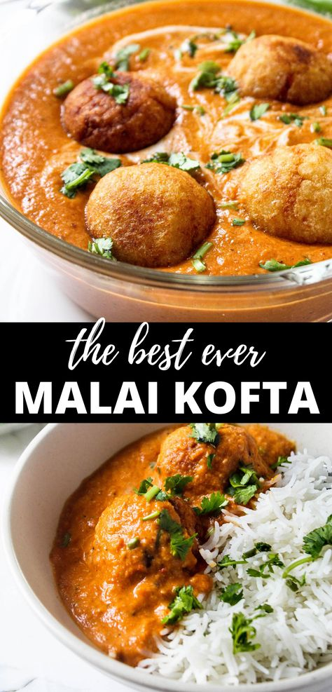 North Indian Malai Kofta Classic north Indian Malai Kofta recipe made with rich and creamy, tomato and onion based gravy (or curry). Veggie Indian Recipes, North Indian Recipes, Healthy Indian Recipes Vegetarian, Authentic Indian Recipes, Indian Snacks, Ethnic Recipes, Kofta Recipe Vegetarian, Vegetarian Dinners, Indian Dishes