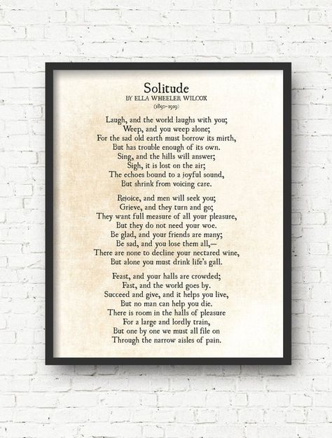 Solitude Poem, Ella Wheeler Wilcox Poem, Laugh and the World Laughs with You, Poetry Art Print, Inspirational Literary Wall Art Print