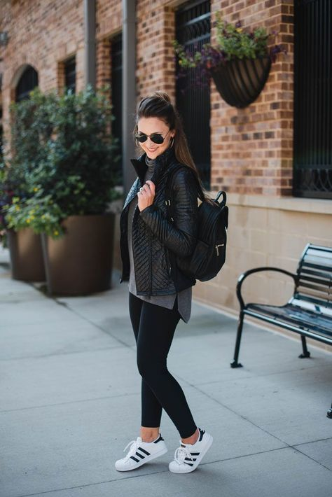 Blogger Mallory Fitzsimmons of Style Your Senses pairs this Zella quilted sport jacket with Zella