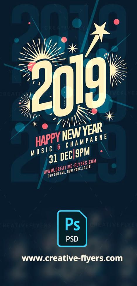 New Year Template Print Ready 300 Dpi Cmyk Psd Flyer Templates Will Work With Adobe Photoshop Ea Graphic Design Cards New Year Card Design New Year Typography