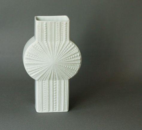 Vintage Op Art White Matte Porcelain Vase Sea by GoGoBerlinette.