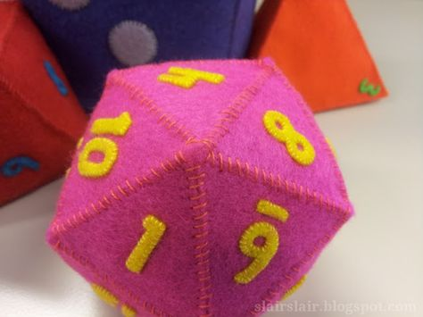 Templates to make a full set of felt polyhedral dice. Includes 4 sided die (d4), 8 sided die (d8), 10 sided die (d10), 12 sided die (d12) and 20 sided die (d20)!