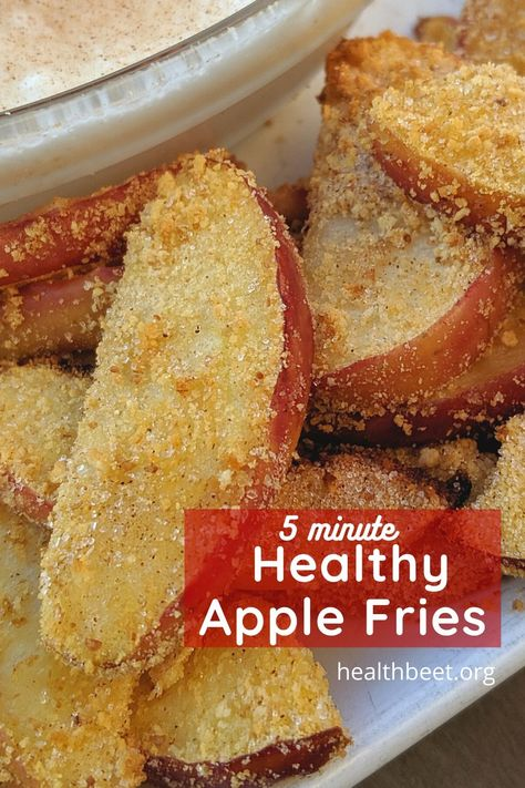 Healthy apple fries can be made by cooking your apples in an air fryer, and it only takes 5 minutes!