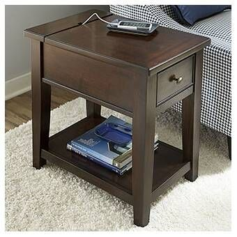 Mccann Chairside End Table With Storage In 2020 Chair Side Table