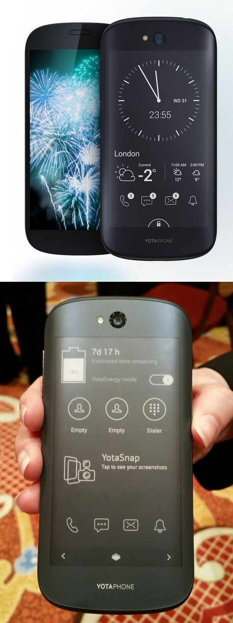 A two-faced phone? Yes indeed! From the front the YotaPhone 2 is a conventional Android smartphone with a 5-inch color display. Flip it around and there's a 4.7-inch @eink monochrome screen as well. The extra screen uses same low-power tech found in e-readers, which means the Russian-made unit can run six days on a charge or provide 100 hours of reading time. The extra display can be viewed in bright sunlight, has its own apps but can also run Android apps in a low-power mode. #CES2015