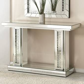 Larock Crystal Console Table In 2020 Mirrored Console Table Mirrored Sofa Table Mirror Console