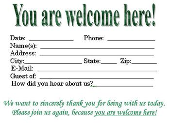 Download This Visitor Card Click The Link Below Church Visitor Card Template You Are Welcome Here Church Visitor Packet Postcard Template Free Card Template
