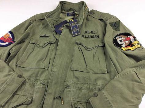 47ba326ff3dd3 Polo Ralph Lauren Men Skull Patch M65 Military Army Field Jacket Olive L XL  #PoloRalphLauren #Military