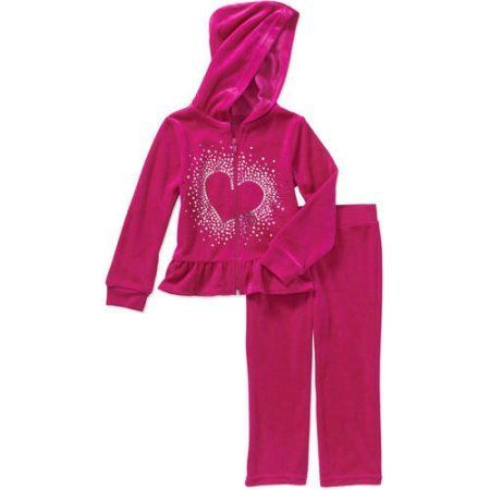680daa516 Healthtex Baby Toddler Girl Velour Hoodie and Pants Outfit Set, Size: 12  Months, Pink
