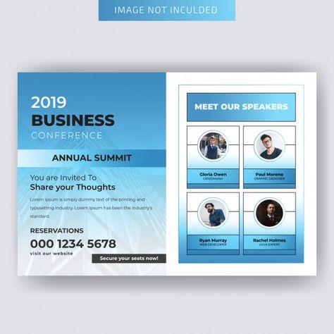 Conferance horizontal business flyer template Vector | Premium