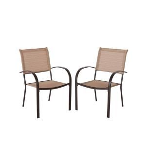 Mix And Match Brown Stackable Sling Outdoor Dining Chair In Cafe 2 Pack With Images Outdoor Dining Chairs Comfortable Living Room Chairs White Dining Room Chairs