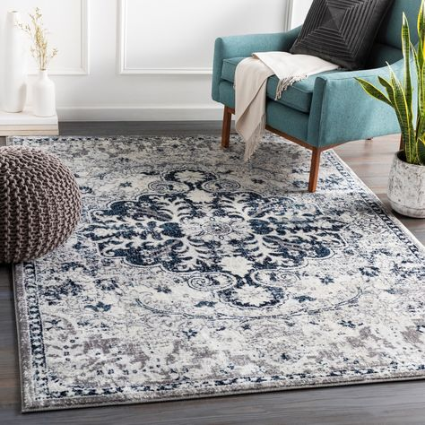 Columbus Distressed Bohemian Medallion Area Rug 6 7 X 9 Navy