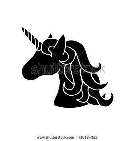 Black Silhouette Of Unicorn Vector Illustration Drawing Isolated On White Background Black Shape Of Unicorn S H Unicorn Drawing Unicorns Vector Unicorn Head