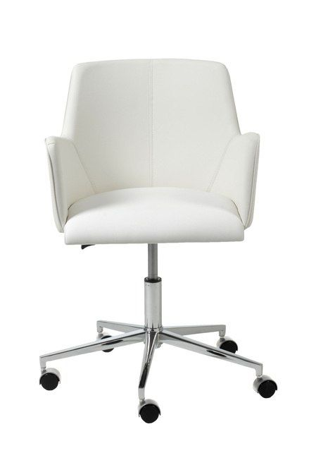 Sunny Office Chair White LeatheretteChrome by Euro Style