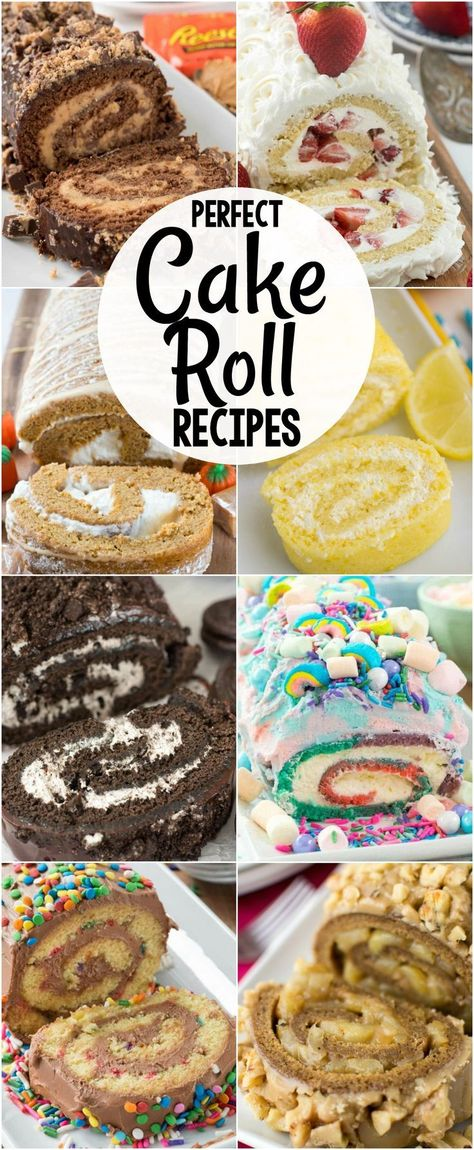 All of my favorite EASY Cake Roll Recipes in one place! Chocolate lemon pumpkin red velvet every cake you love can be made into a cake roll. The post Cake Roll Recipes appeared first on Dessert Platinum. Dessert Simple, Ganache Au Nutella, Cake Roll Recipes, Lemon Cake Roll Recipe, Peanut Butter Cake Roll Recipe, Christmas Vanilla Cake Roll Recipe, Recipe For Red Velvet Cake Roll, Party Recipes, Sponge Roll Cake Recipe