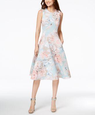 7eb09e84fc51f Calvin Klein Floral-Print Scuba Fit & Flare Dress   macys.com   a la ...
