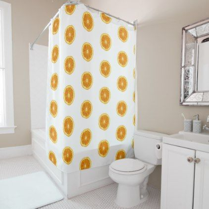 Citrus Fruit Sliced Oranges Pattern Shower Curtain Zazzle Com
