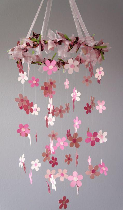 Pink Flower Mobile for Baby Girl Nursery by LoveBugLullabies, $55.00  -  Eek, inspiration to make my own :)