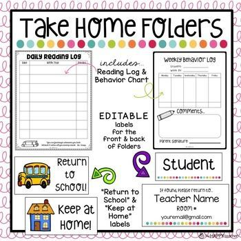 Take Home Folders with EDITABLE labels, Reading Log ...