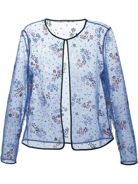 Shop MARY KATRANTZOU floral lace sheer jacket from Farfetch
